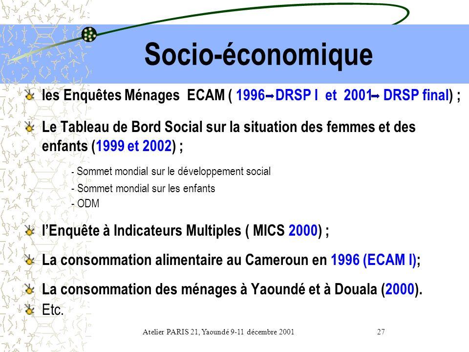 Atelier PARIS 21, Yaoundé 9-11 décembre 2001 27