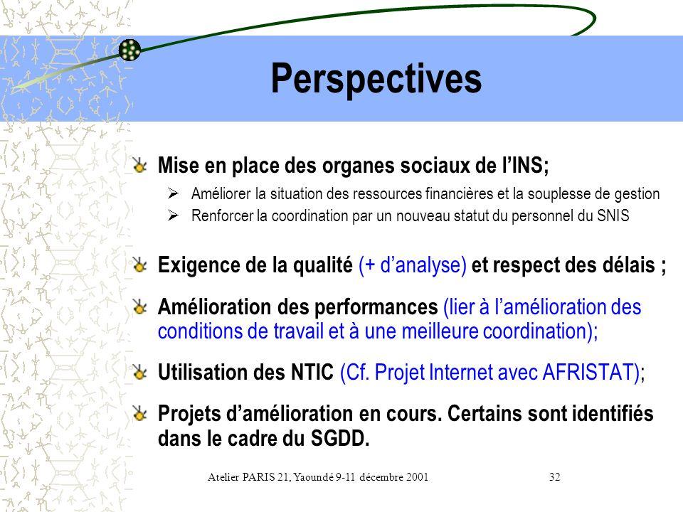 Atelier PARIS 21, Yaoundé 9-11 décembre 2001 32