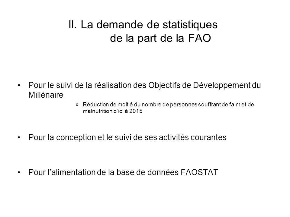 II. La demande de statistiques de la part de la FAO