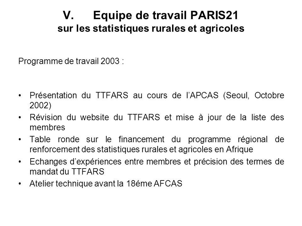 V. Equipe de travail PARIS21 sur les statistiques rurales et agricoles