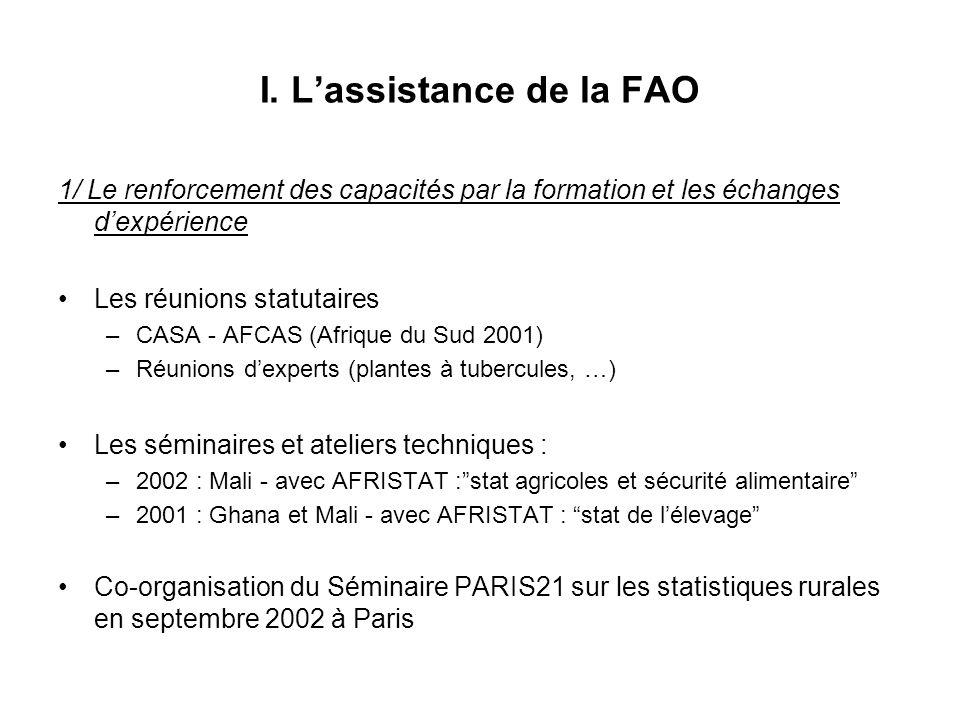 I. L'assistance de la FAO
