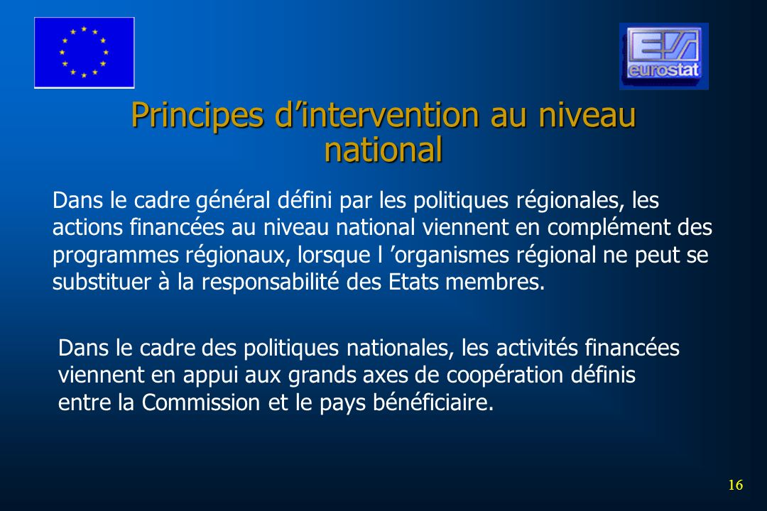 Principes d'intervention au niveau national