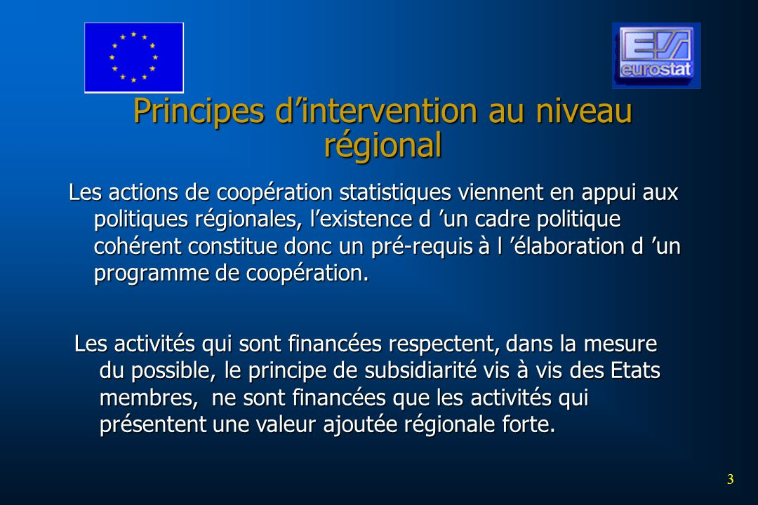 Principes d'intervention au niveau régional