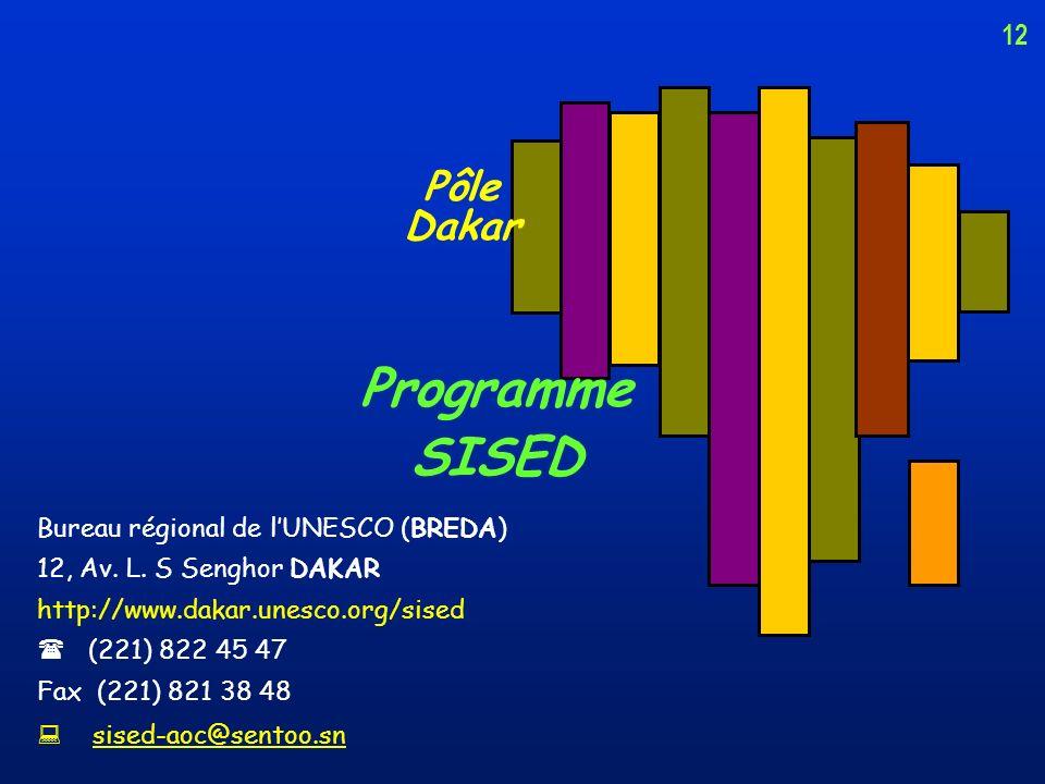 Programme SISED Pôle Dakar 12 Bureau régional de l'UNESCO (BREDA)