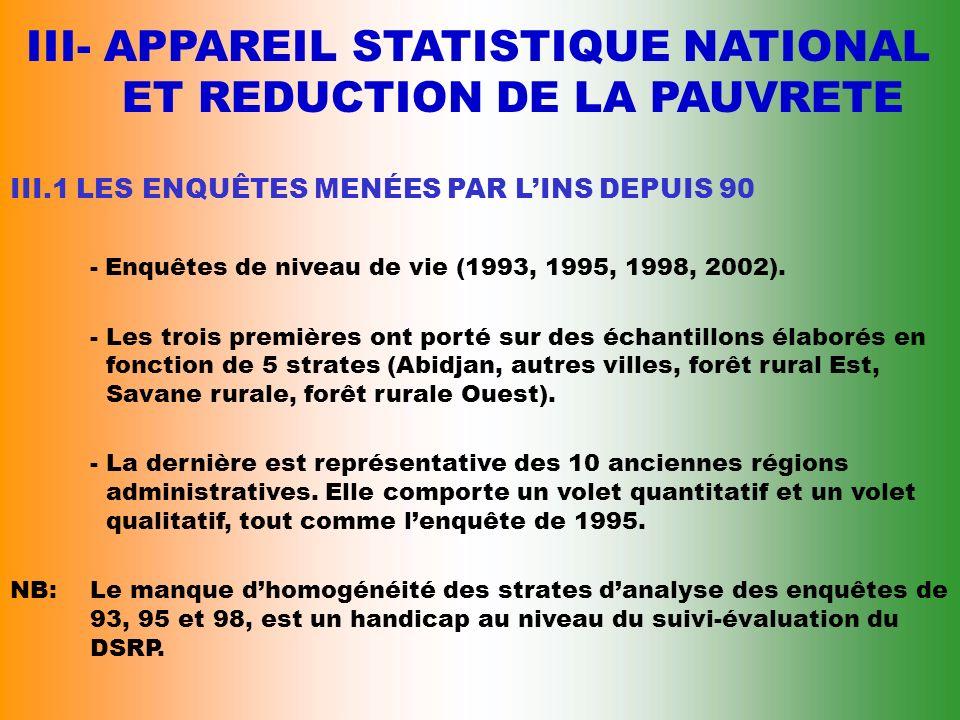 III- APPAREIL STATISTIQUE NATIONAL ET REDUCTION DE LA PAUVRETE