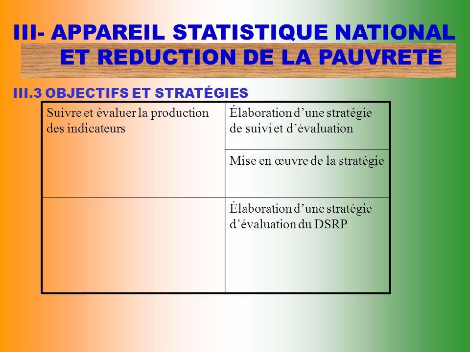 III- APPAREIL STATISTIQUE NATIONAL. ET REDUCTION DE LA PAUVRETE III
