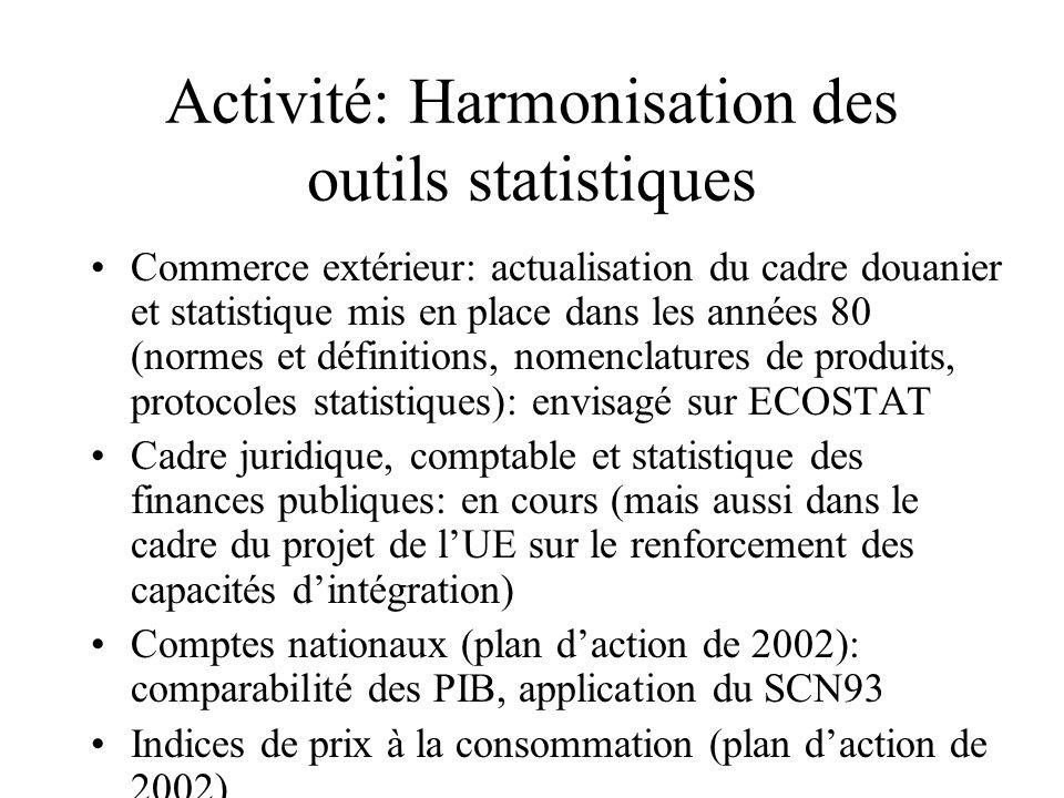 Activité: Harmonisation des outils statistiques