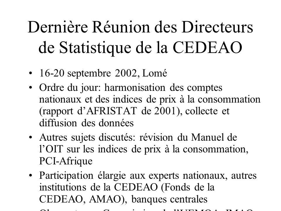 Dernière Réunion des Directeurs de Statistique de la CEDEAO