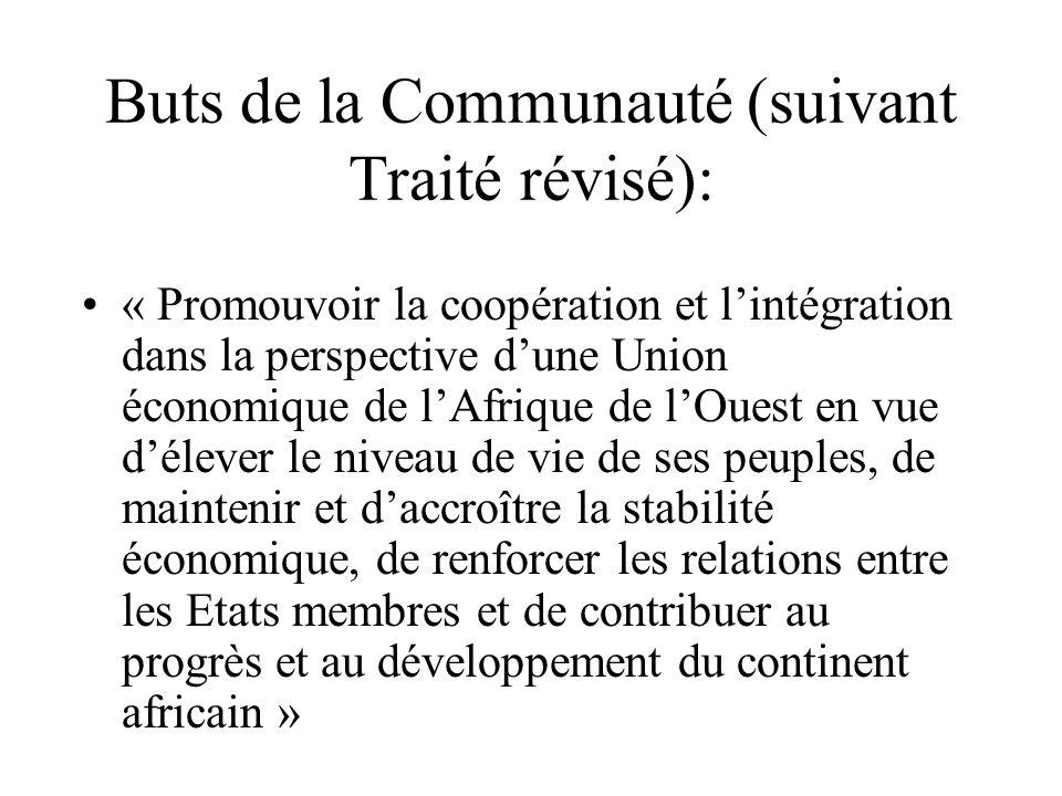 Buts de la Communauté (suivant Traité révisé):