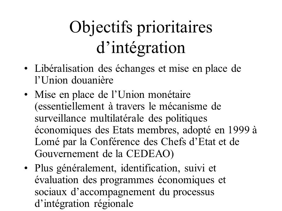 Objectifs prioritaires d'intégration