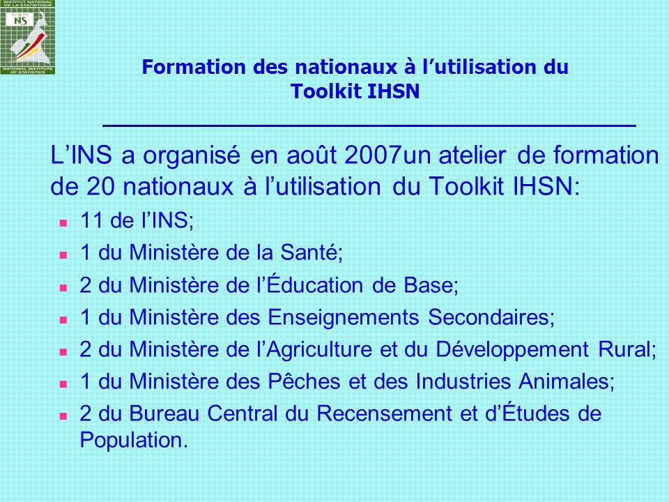 Formation des nationaux à l'utilisation du Toolkit IHSN