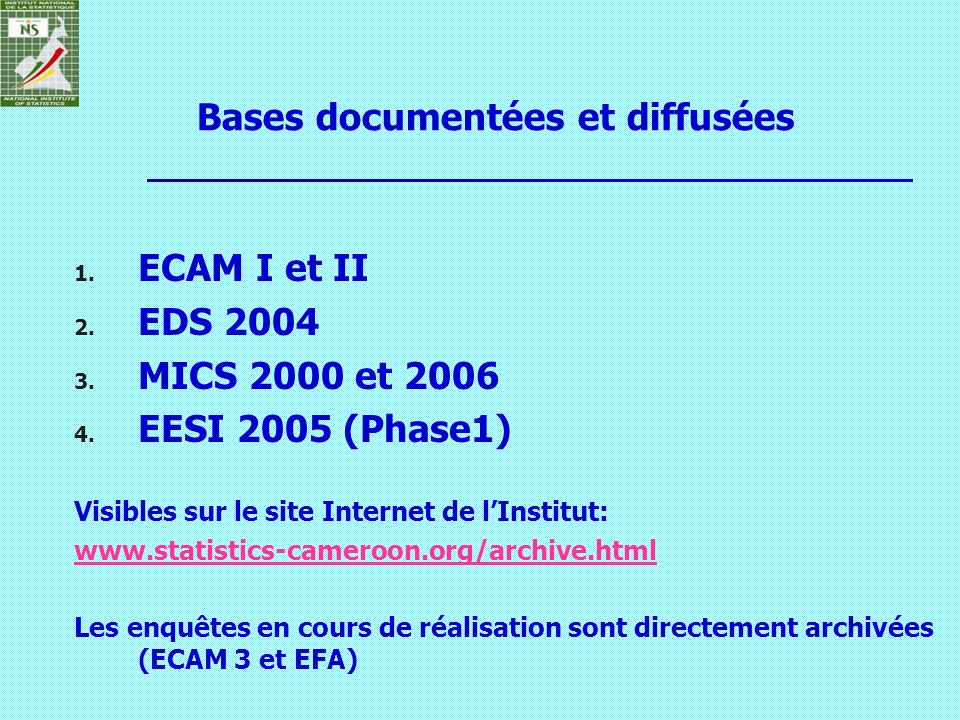 Bases documentées et diffusées