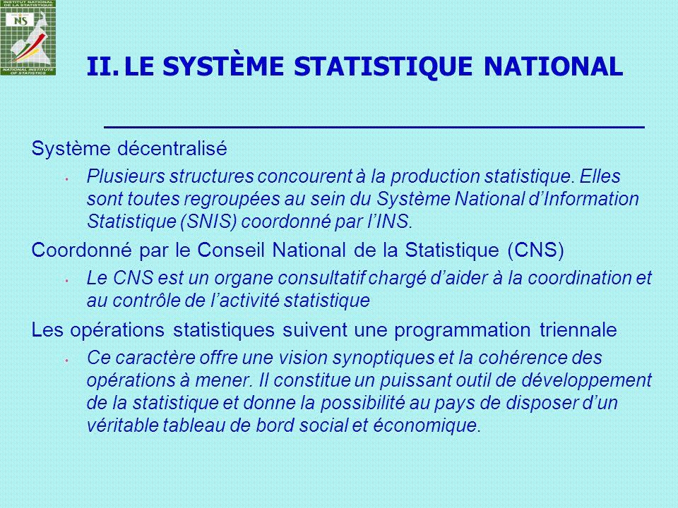 LE SYSTÈME STATISTIQUE NATIONAL
