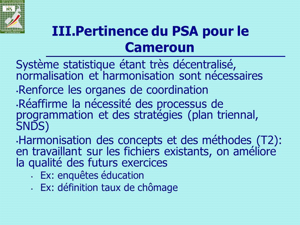 Pertinence du PSA pour le Cameroun