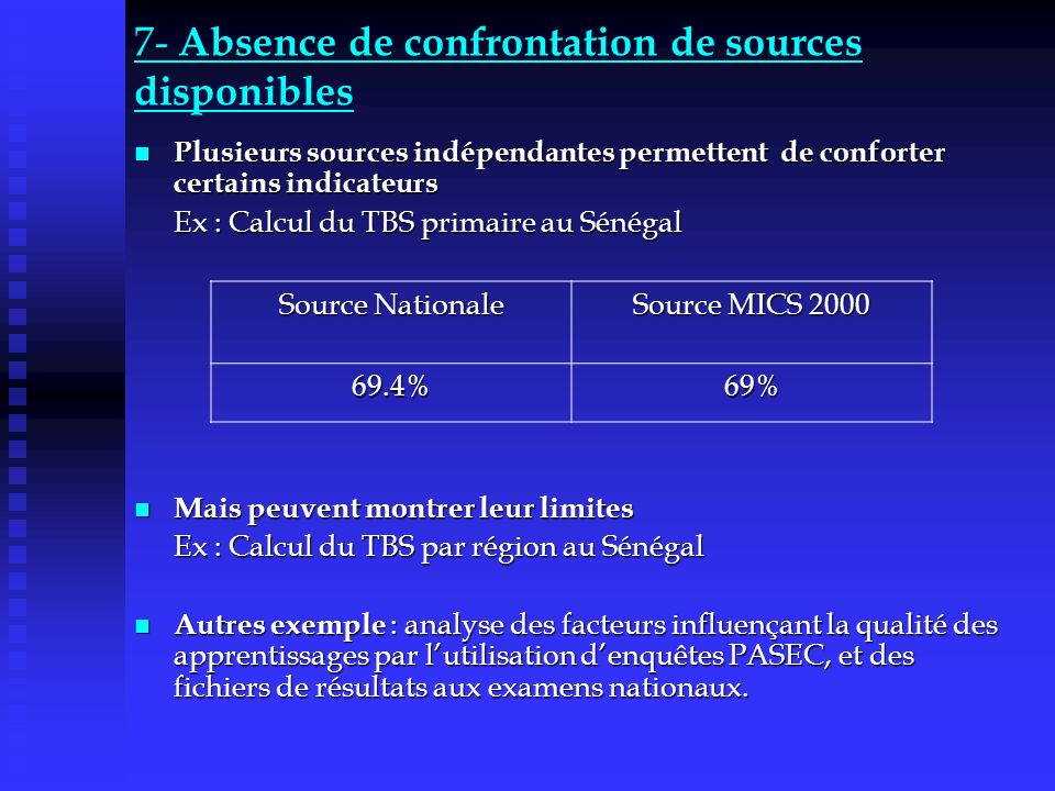 7- Absence de confrontation de sources disponibles