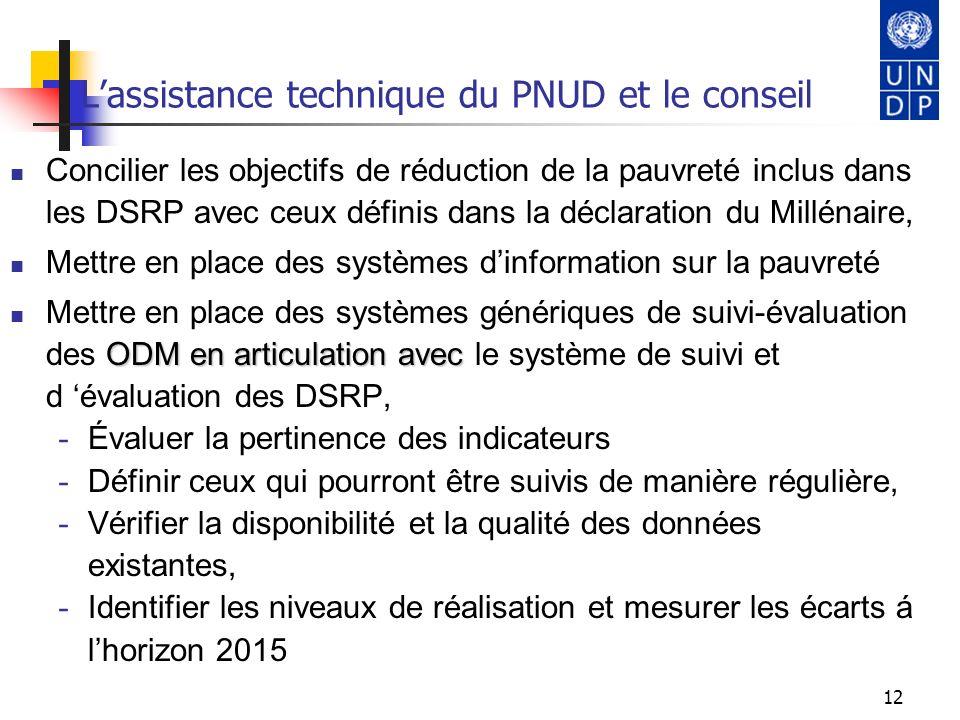 L'assistance technique du PNUD et le conseil