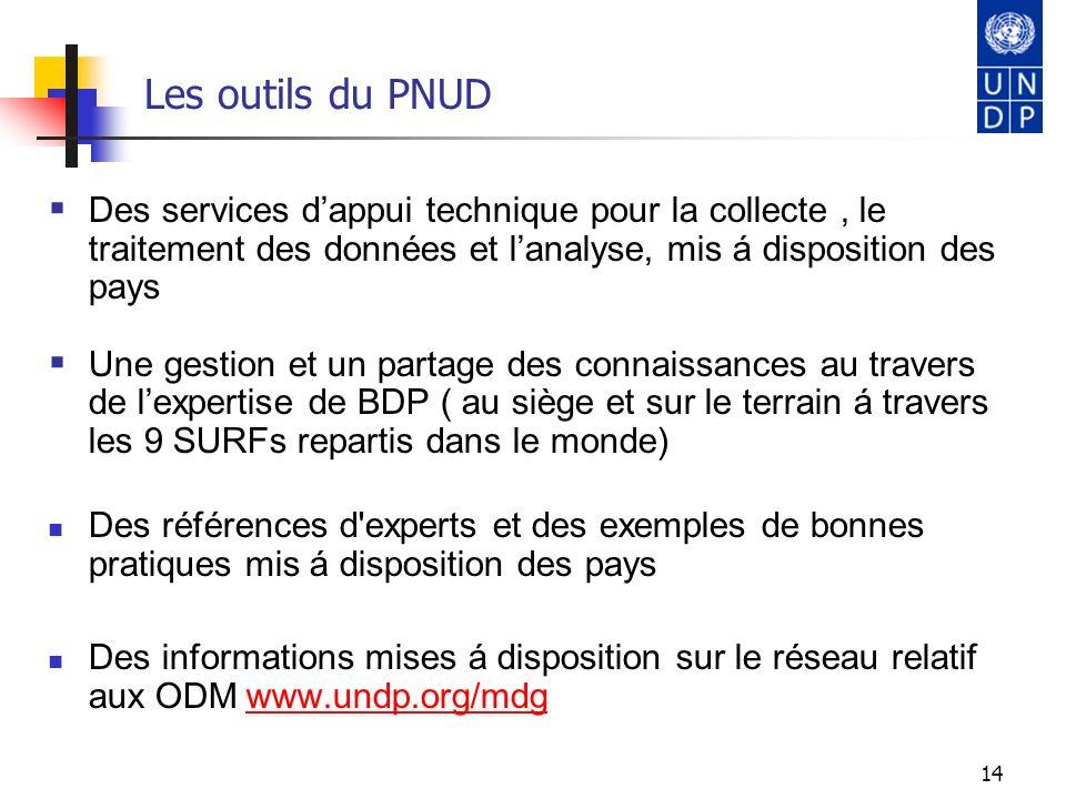 Les outils du PNUD Des services d'appui technique pour la collecte , le traitement des données et l'analyse, mis á disposition des pays.