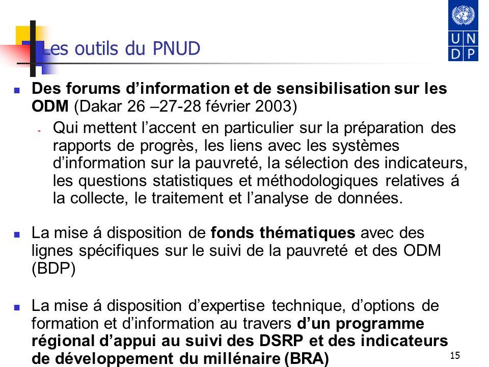 Les outils du PNUD Des forums d'information et de sensibilisation sur les ODM (Dakar 26 –27-28 février 2003)