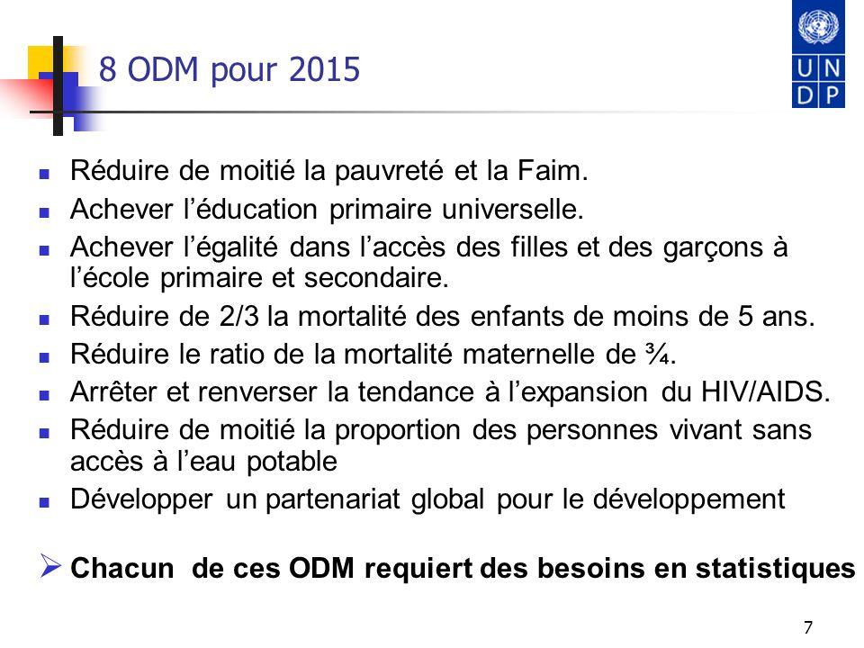 8 ODM pour 2015 Réduire de moitié la pauvreté et la Faim.