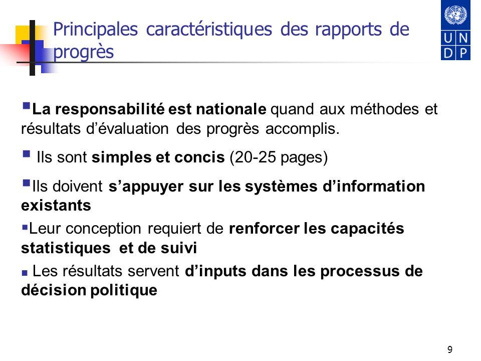 Principales caractéristiques des rapports de progrès