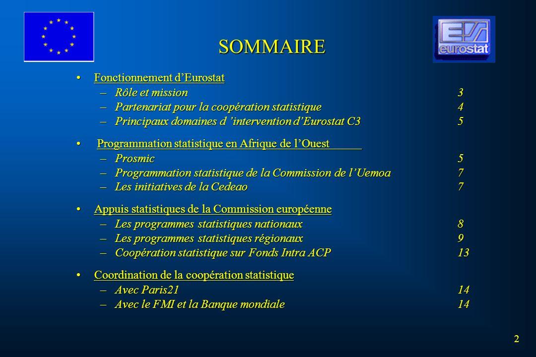 SOMMAIRE Fonctionnement d'Eurostat Rôle et mission 3