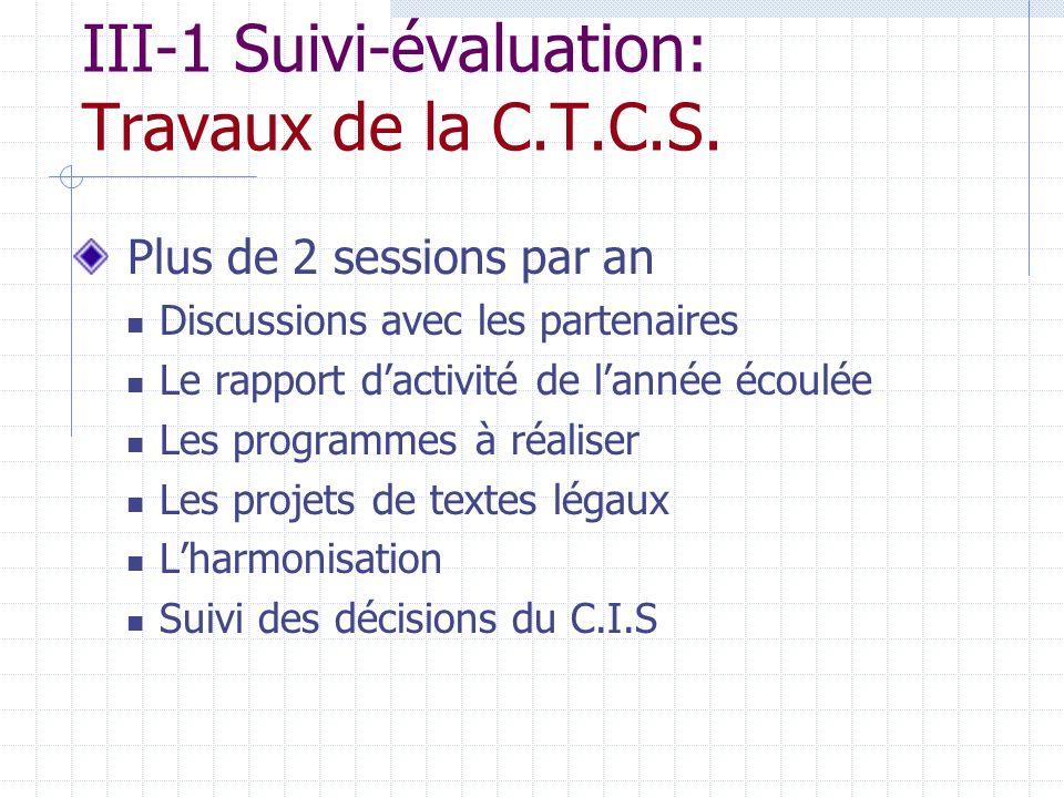 III-1 Suivi-évaluation: Travaux de la C.T.C.S.