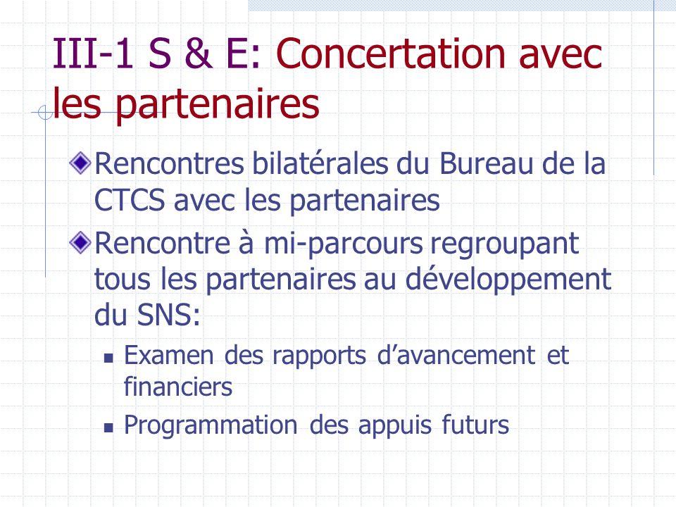 III-1 S & E: Concertation avec les partenaires