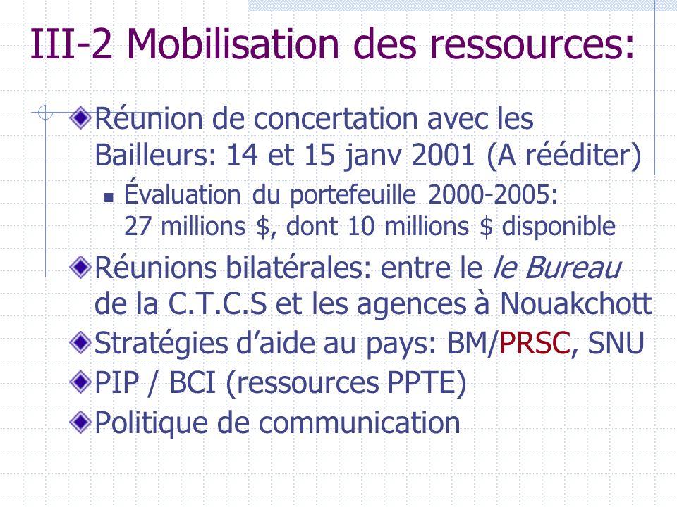 III-2 Mobilisation des ressources: