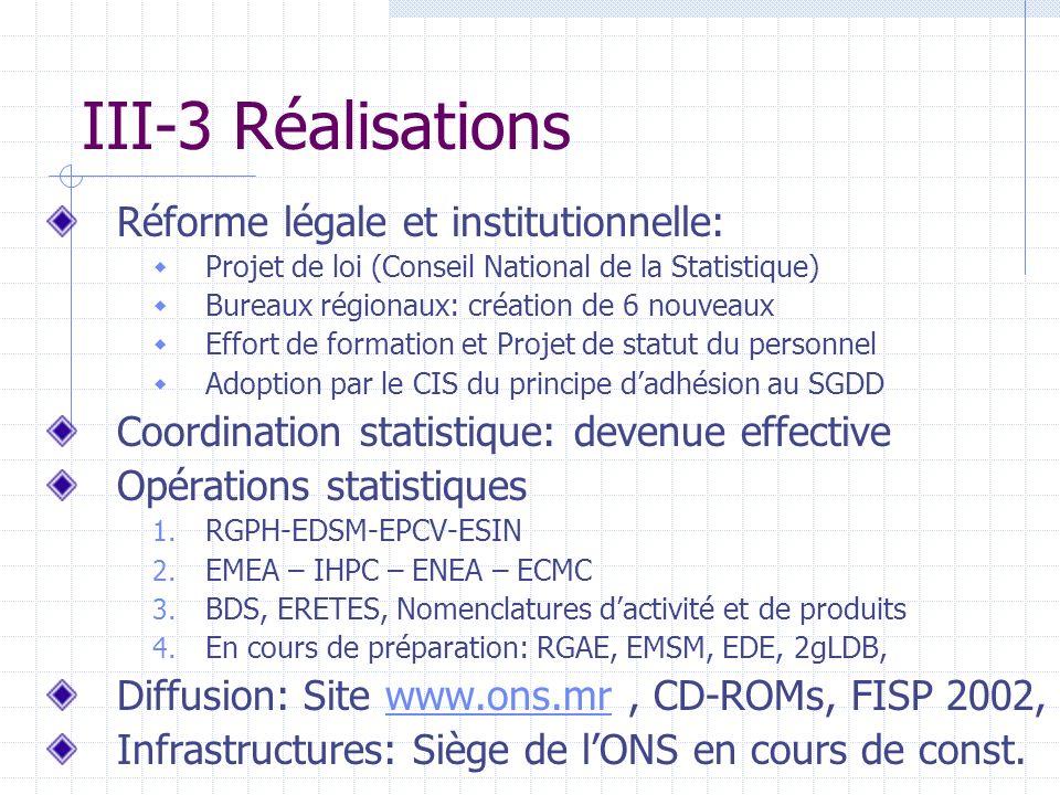 III-3 Réalisations Réforme légale et institutionnelle: