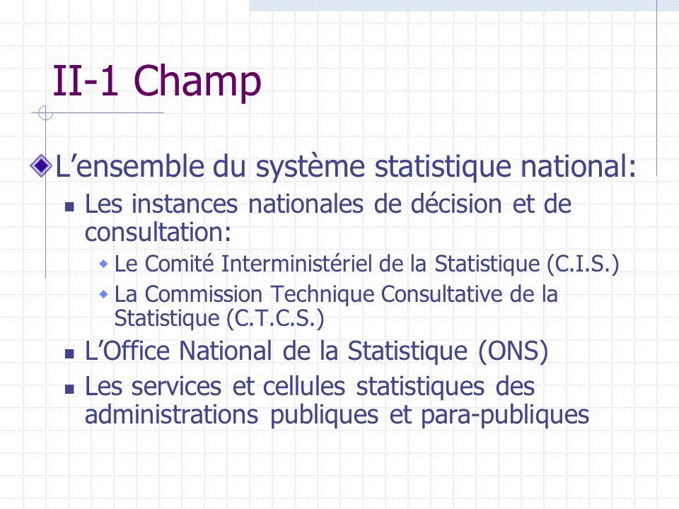 II-1 Champ L'ensemble du système statistique national: