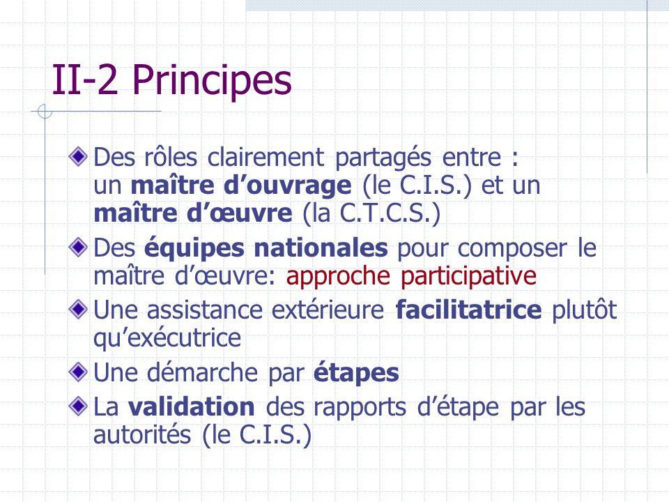 II-2 Principes Des rôles clairement partagés entre : un maître d'ouvrage (le C.I.S.) et un maître d'œuvre (la C.T.C.S.)