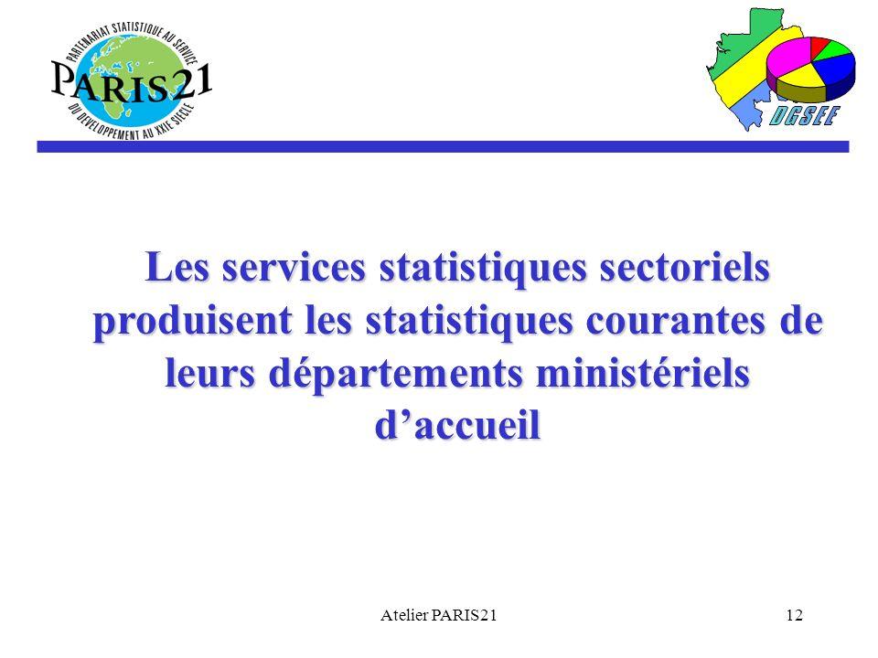 Les services statistiques sectoriels produisent les statistiques courantes de leurs départements ministériels d'accueil