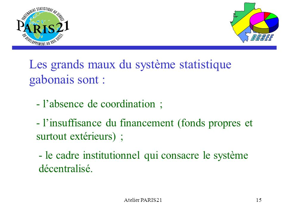 Les grands maux du système statistique gabonais sont :