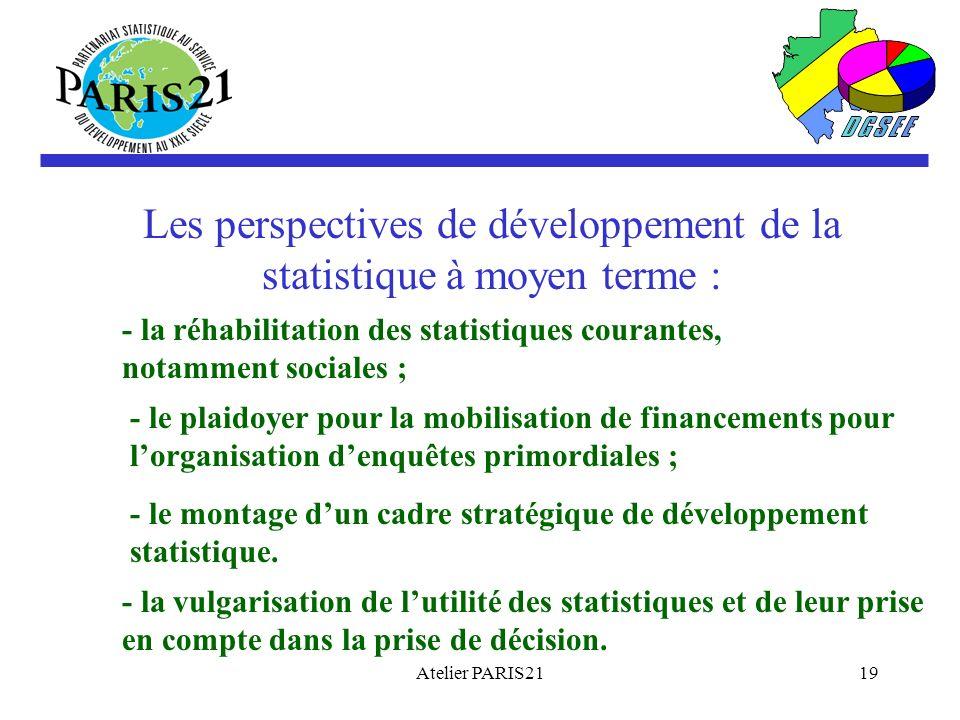 Les perspectives de développement de la statistique à moyen terme :