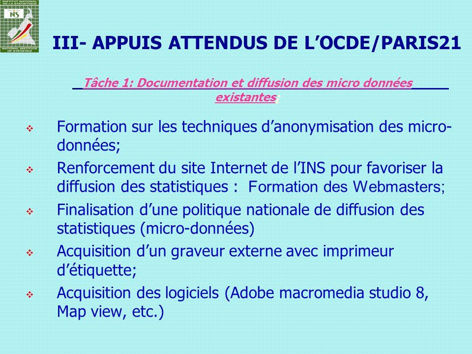 Tâche 1: Documentation et diffusion des micro données existantes;