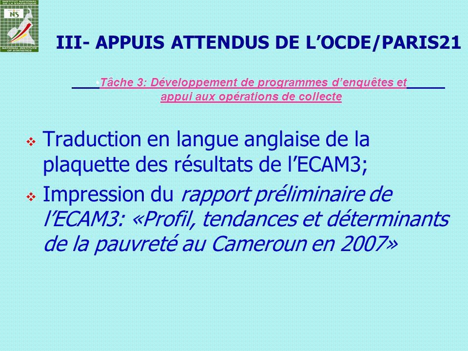 III- APPUIS ATTENDUS DE L'OCDE/PARIS21