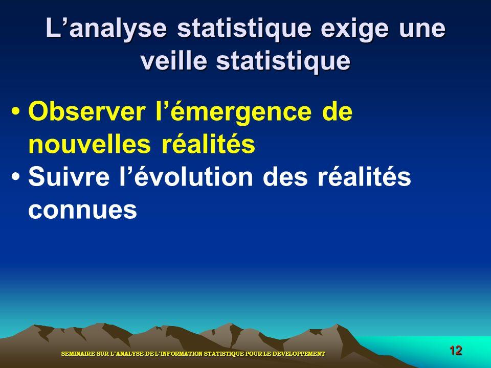 L'analyse statistique exige une veille statistique