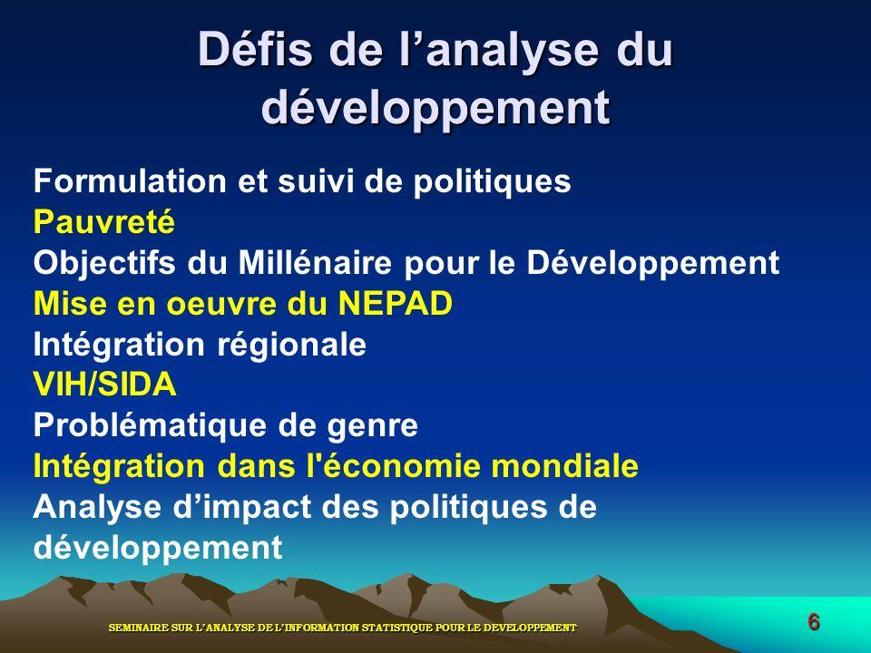 Défis de l'analyse du développement