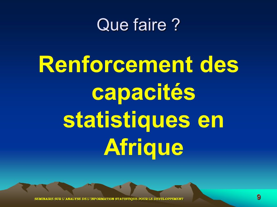 Renforcement des capacités statistiques en Afrique