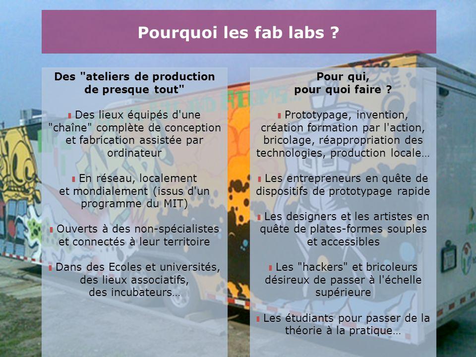 Pourquoi les fab labs Des ateliers de production de presque tout