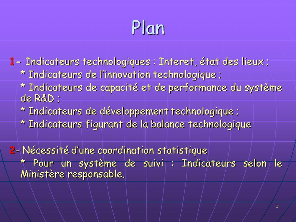 Plan 1- Indicateurs technologiques : Interet, état des lieux ;