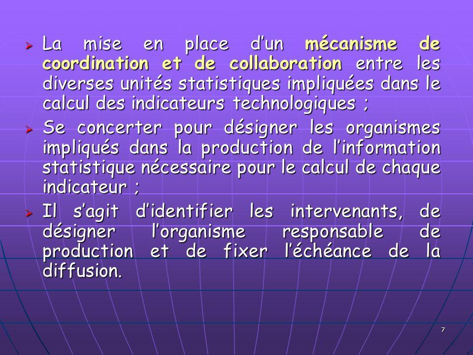 La mise en place d'un mécanisme de coordination et de collaboration entre les diverses unités statistiques impliquées dans le calcul des indicateurs technologiques ;