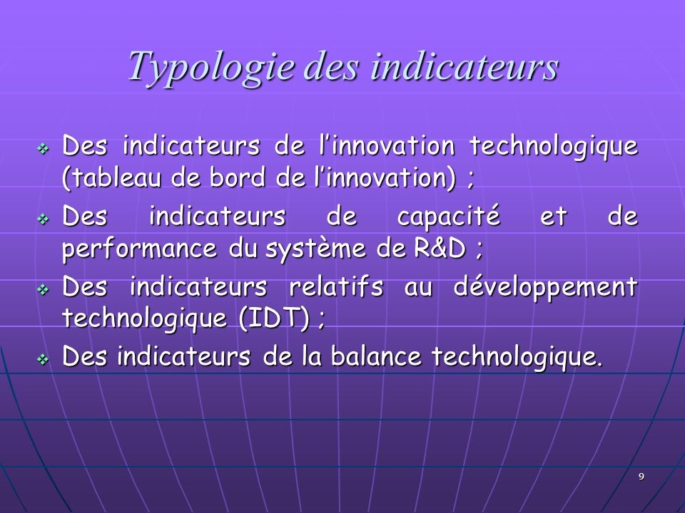 Typologie des indicateurs