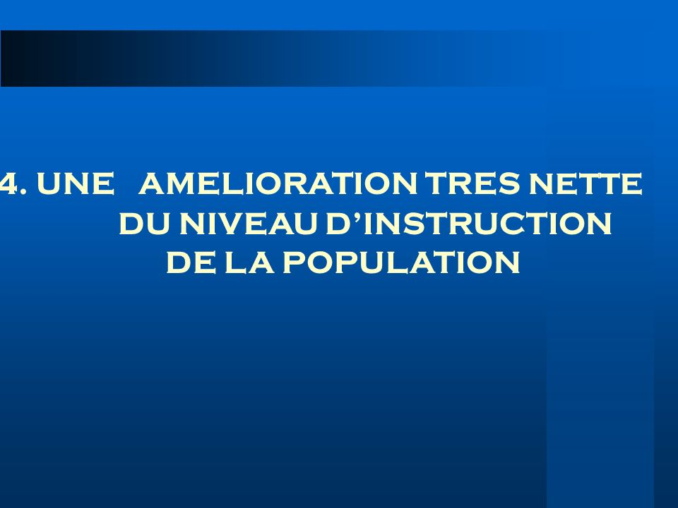 4. UNE AMELIORATION TRES NETTE DU NIVEAU D'INSTRUCTION DE LA POPULATION