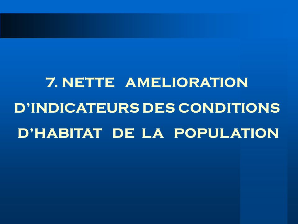 D'INDICATEURS DES CONDITIONS D'HABITAT DE LA POPULATION