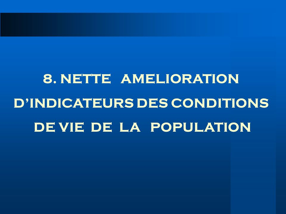 D'INDICATEURS DES CONDITIONS