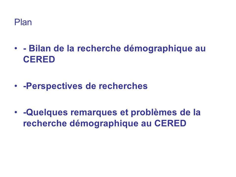 Plan - Bilan de la recherche démographique au CERED. -Perspectives de recherches.