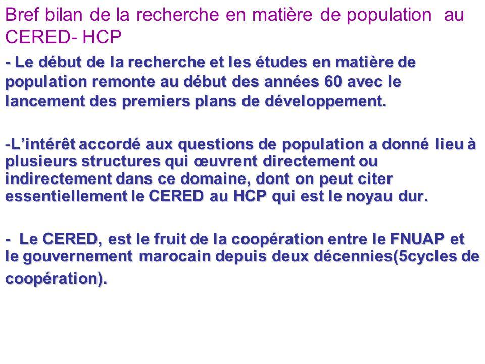 Bref bilan de la recherche en matière de population au CERED- HCP