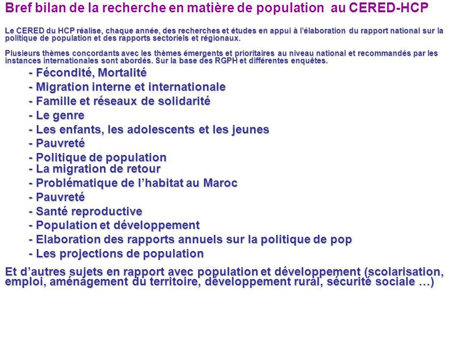 Bref bilan de la recherche en matière de population au CERED-HCP