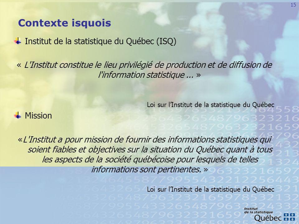 Contexte isquois Institut de la statistique du Québec (ISQ)